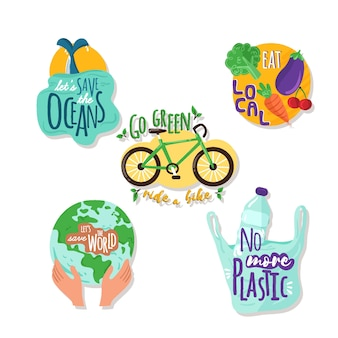 Rysowany zestaw odznak ekologii