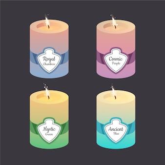 Rysowany zestaw świec zapachowych