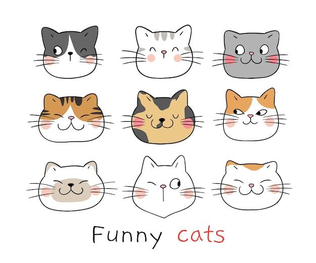 Rysuj doodle śmieszną twarz kota w stylu kreskówki cartoon