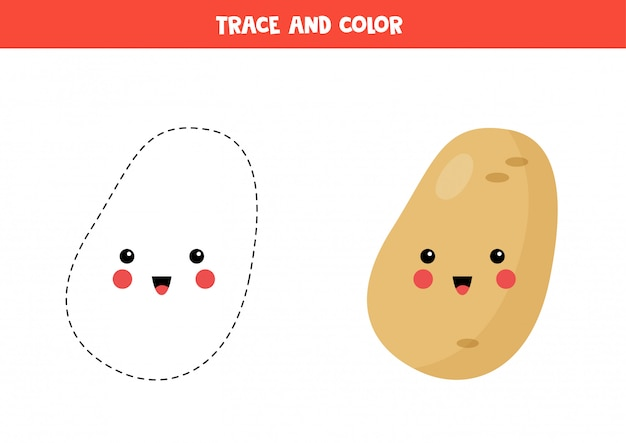 Rysuj i pokoloruj słodkie ziemniaki kawaii. kolorowanki dla dzieci.