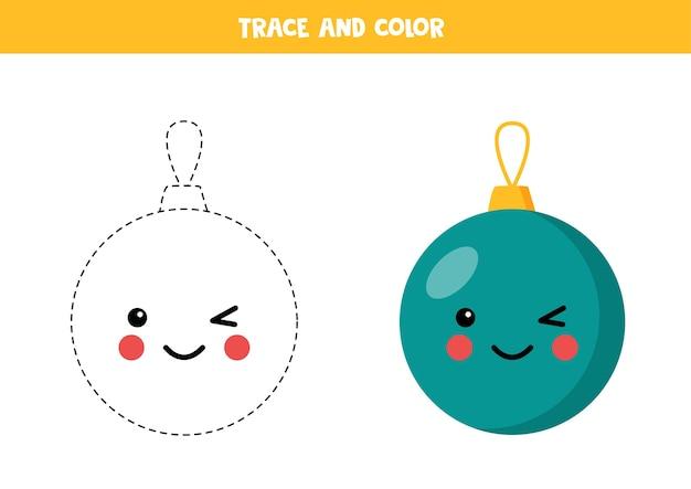 Rysuj i pokoloruj uroczą świąteczną piłkę kawaii