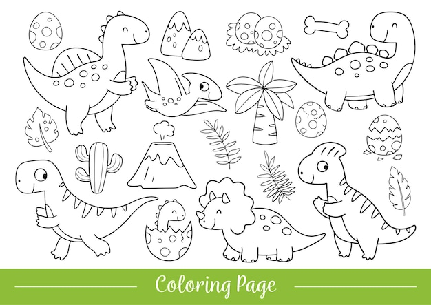 Rysuj ilustracji wektorowych kolorowanki ładny dinozaur doodle stylu cartoon