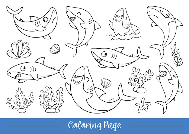Rysuj ilustracji wektorowych kolorowanki ładny rekin doodle stylu cartoon