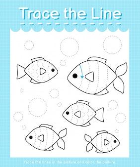 Rysuj linię: obrysuj linie przerywane i pokoloruj obrazek - ryby
