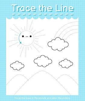 Rysuj linię: obrysuj linie przerywane i pokoloruj obrazek - słońce