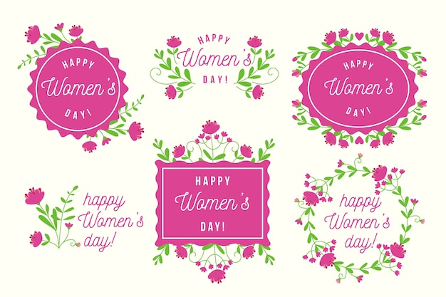 Rysuj z kolekcji etykiet na dzień kobiet