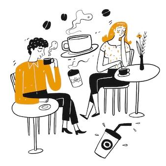 Rysująca postać ludzi, przerwa na kawę.