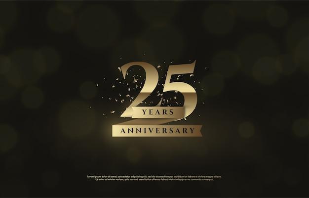 Rysunek 25 do świętowania. z wymyślnymi złotymi numerami i wstążkami.