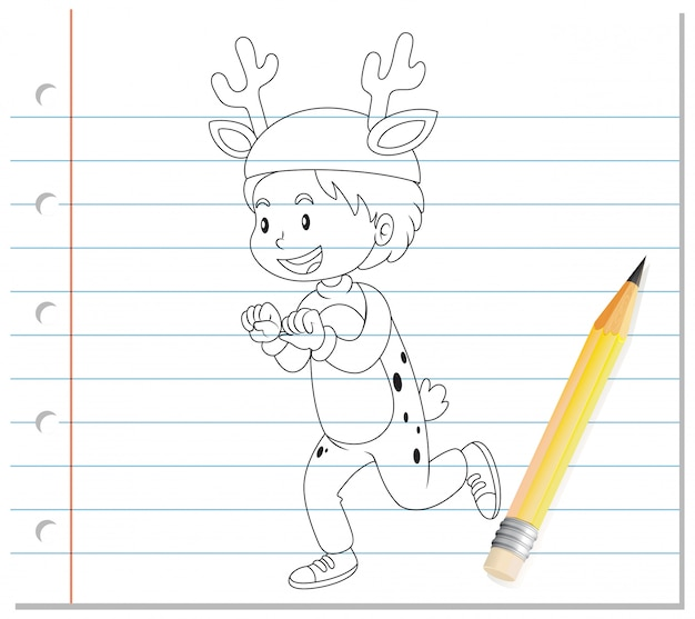 Rysunek chłopca w kontur kreskówka kostium jelenia