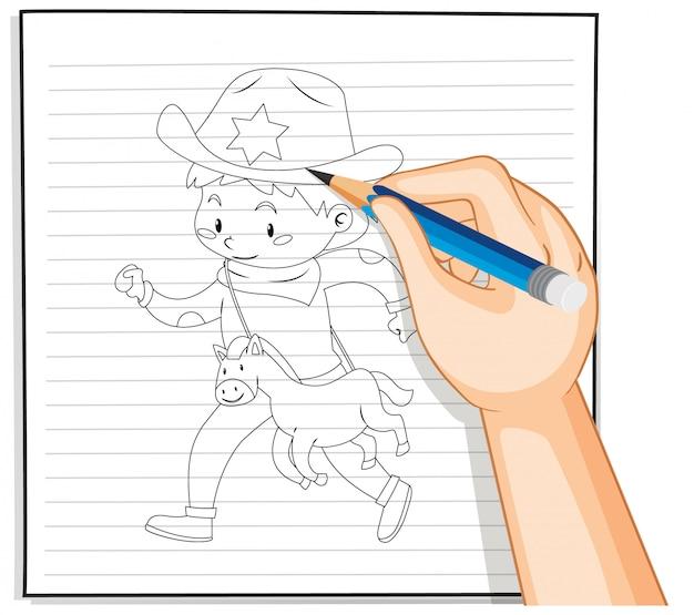 Rysunek chłopiec zarys konspektu