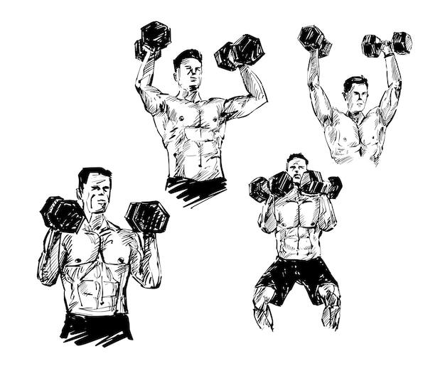 Rysunek ćwiczenia człowieka z hantle ręcznie rysować