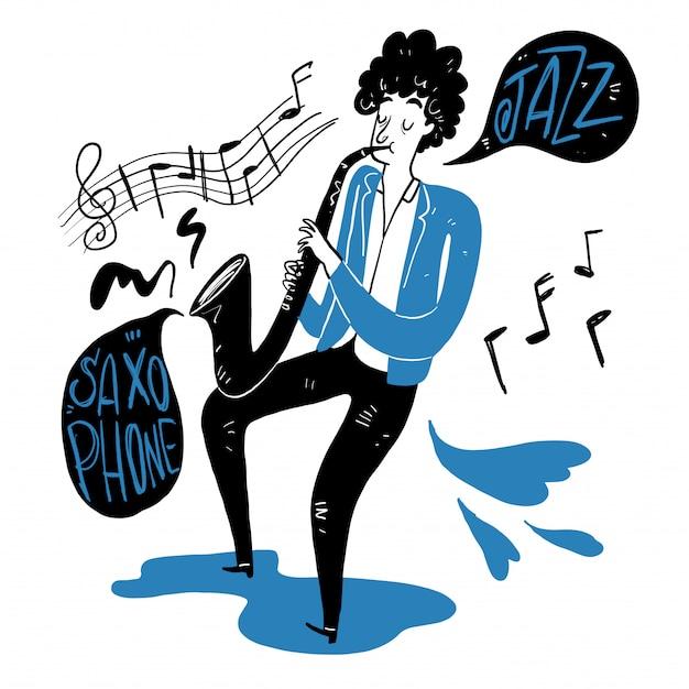 Rysunek człowieka dmuchającego saksofon.