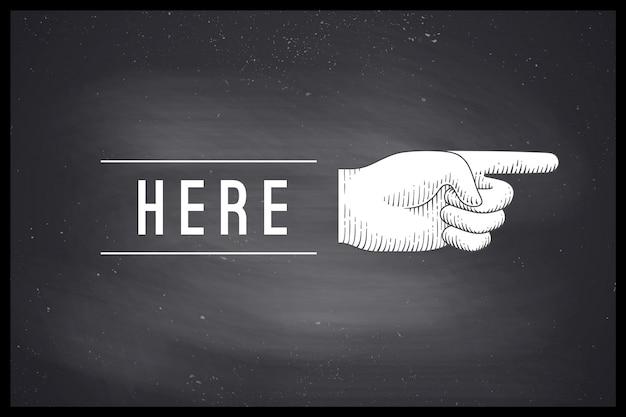 Rysunek dłoni znak palcem wskazującym w stylu grawerowania