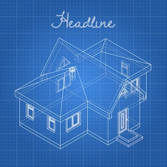 Rysunek domu na niebieskim tle.