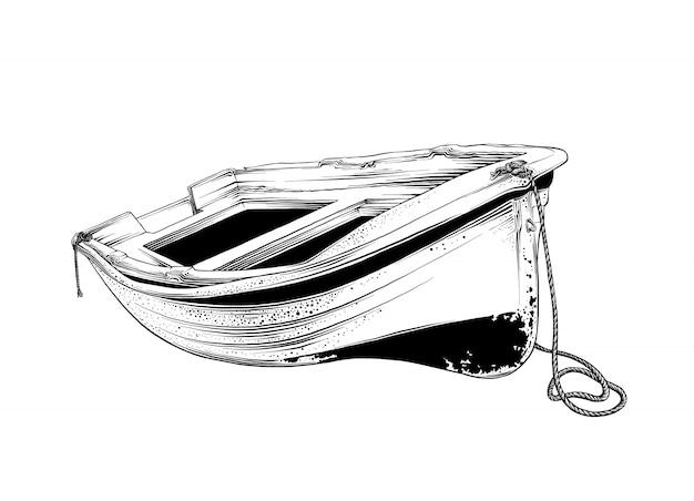 Rysunek drewnianej łodzi w kolorze czarnym, na białym tle. grafika, rysunek odręczny.