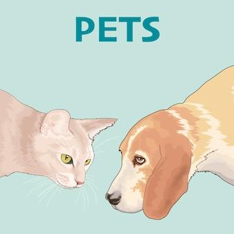 Rysunek Dwóch Zwierząt Domowych Premium Wektorów