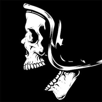 Rysunek głowy czaszki, na białym tle