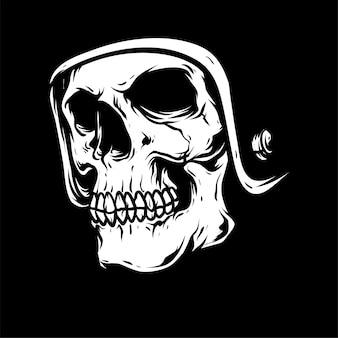 Rysunek głowy czaszki, na białym tle,