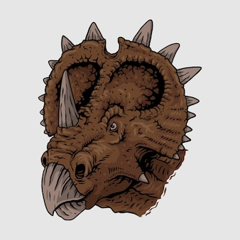 Rysunek głowy maskotka triceratops, illustrasion