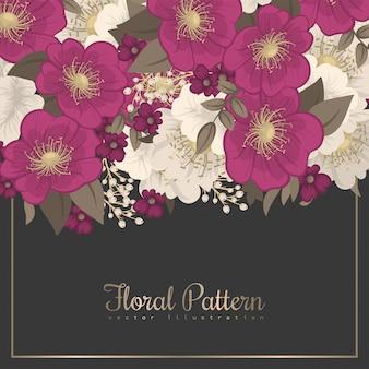Rysunek granicy kwiatów - gorący różowy kwiat