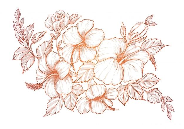 Rysunek i szkic ozdobny kwiatowy tło