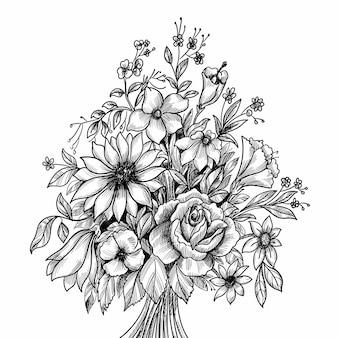 Rysunek i szkic ozdobny kwiatowy