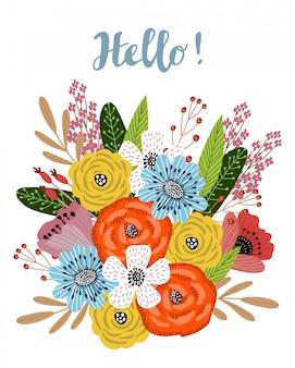 Rysunek jasny bukiet kwiatów