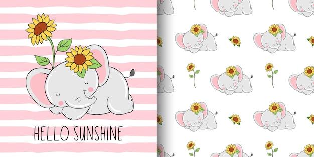 Rysunek karty i wzór nadruku słodkiego słonia ze słonecznikiem