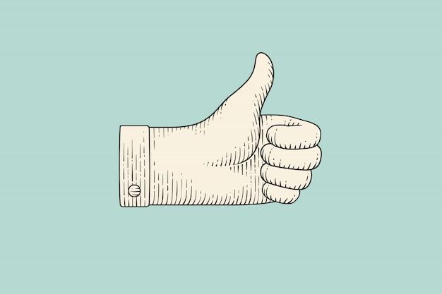 Rysunek kciuk w górę w stylu grawerowania