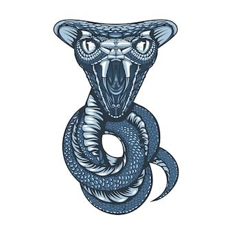 Rysunek kobry zwiniętej w pierścienie i gotowy do ataku. projekt tatuażu.