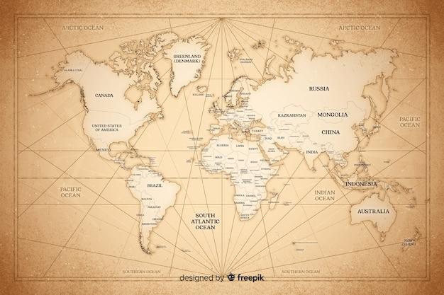 Rysunek koncepcji mapy świata w stylu vintage