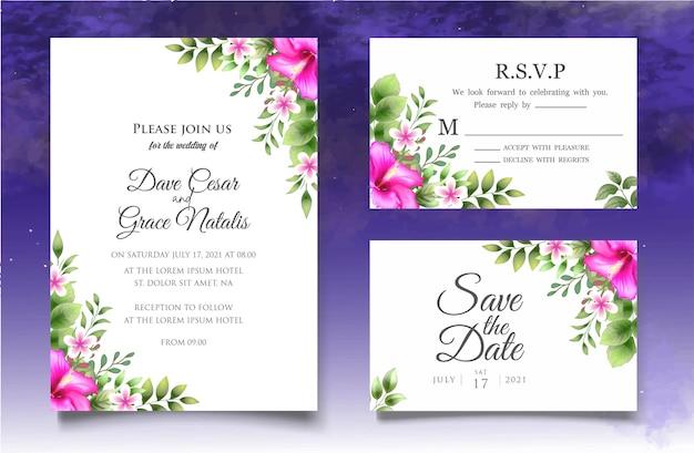Rysunek kwiatowy zaproszenie na ślub z pięknymi kwiatami