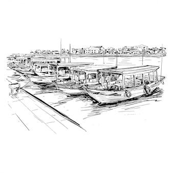 Rysunek łodzi w wietnamie hoi an