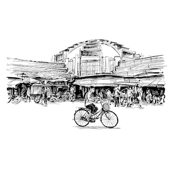 Rysunek lokalnego rynku w kambodży