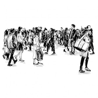Rysunek ludzi idzie ulicą w japonii