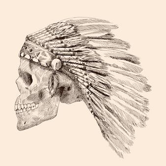 Rysunek ludzkiej czaszki.