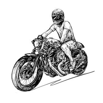 Rysunek mężczyzny uwalnia klasyczny motocykl