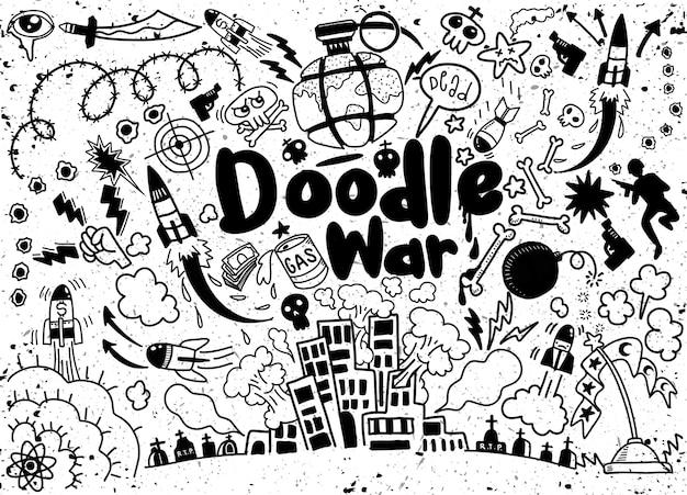 Rysunek odręczny doodle kolekcja war