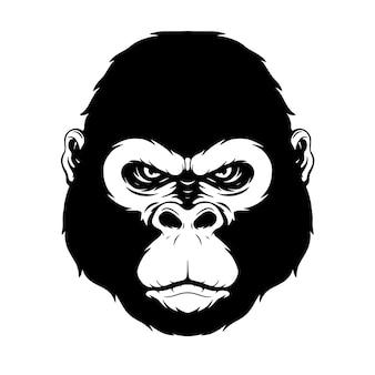 Rysunek odręczny głowa goryla głowa goryla najlepiej na plakat z tatuażem tshirt