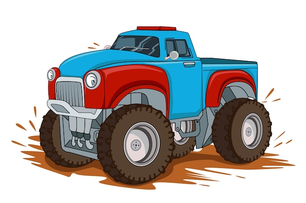 Rysunek odręczny klasyczny duży samochód ciężarowy
