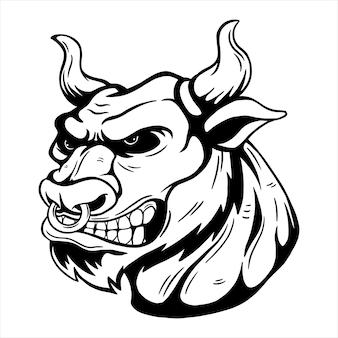 Rysunek odręczny projektu głowy byka