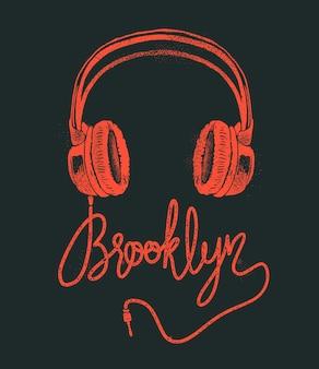 Rysunek odręczny słuchawki brooklyn