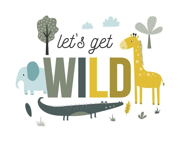 Rysunek odręczny zwierzęta safari nadruk projekt ilustracji wektorowych dla mody tkaniny tekstylne gr