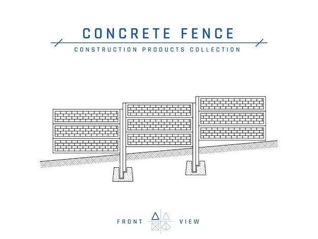 Rysunek ogrodzenia betonowego, widok z przodu.