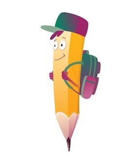 Rysunek ołówkiem. urocza, humanizowana postać ołówka z ilustracją emoji z ramionami i twarzą z tornister na plecach.