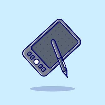 Rysunek, pióro, tablet, rysunek, ikona, ilustracja. koncepcja biznesowa technologia ikona na białym tle. płaski styl kreskówki