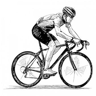 Rysunek pokazu zawodów rowerowych izoluje rowerzystę