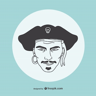Rysunek portret pirata