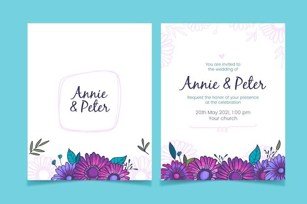 Rysunek projektu zaproszenia ślubne