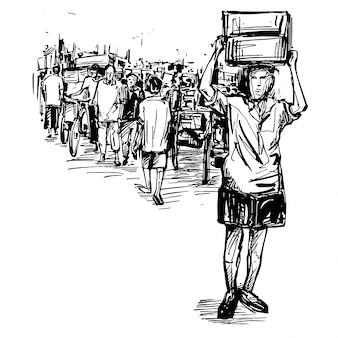 Rysunek przedstawiający ludzi spacerujących ulicą na lokalnym targu w indiach